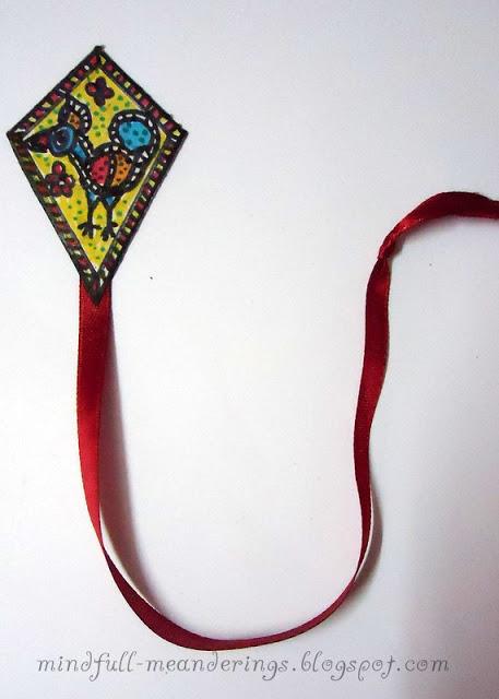 DIY madhubani style kite bookmark