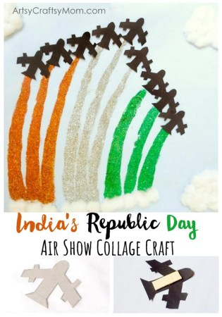 India Republic Day Air Show Collage Craft - This Republic Day, make your own special Air Show at home with this super easy paper collage craft!