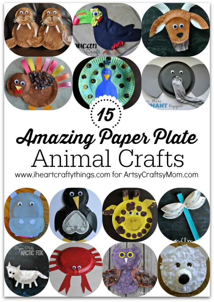 15 Amazing Paper Plate Animal Crafts1  sc 1 st  Artsy Craftsy Mom : paper plate animal crafts - pezcame.com
