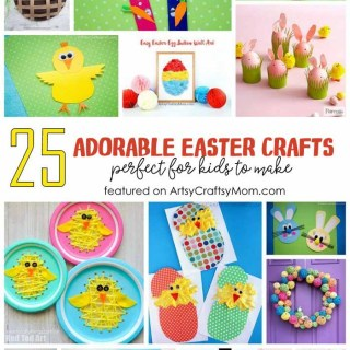 25 Of The Cutest Easter Crafts for Kids including bunnies, chicks, eggs & decorations, wreath, Easter baskets and more Easter decorations perfect for all ages