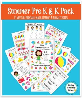 Free Summer Printable Pack for Preschool and Kindergarten