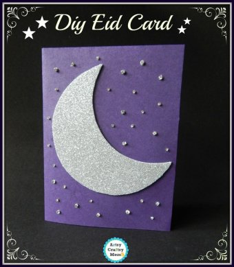 Crescent theme DIY Eid Card - ArtsycraftsyMom.com - Eid Card, handmade card idea for kids , Ramadan craft