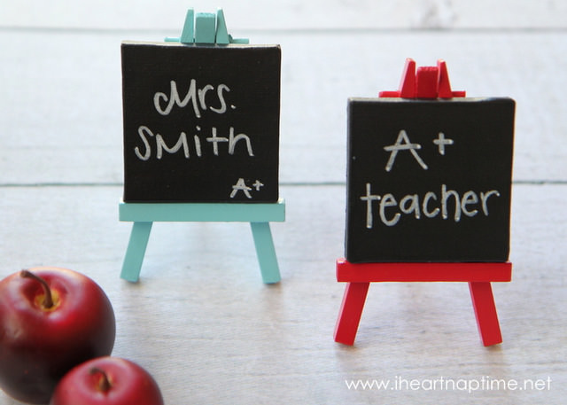 04-Chalkboard-Easel ArtsyCraftsyMom.com Teachers love cute handmade gifts from their students. Check out these 12 Useful Crafts For Teachers Day that Kids Can Make without too much time or effort!