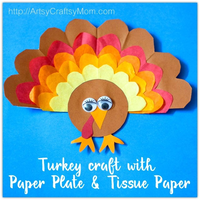 Thanksgiving Classroom Wall Decor : Paper plate thanksgiving turkey craft with tissue