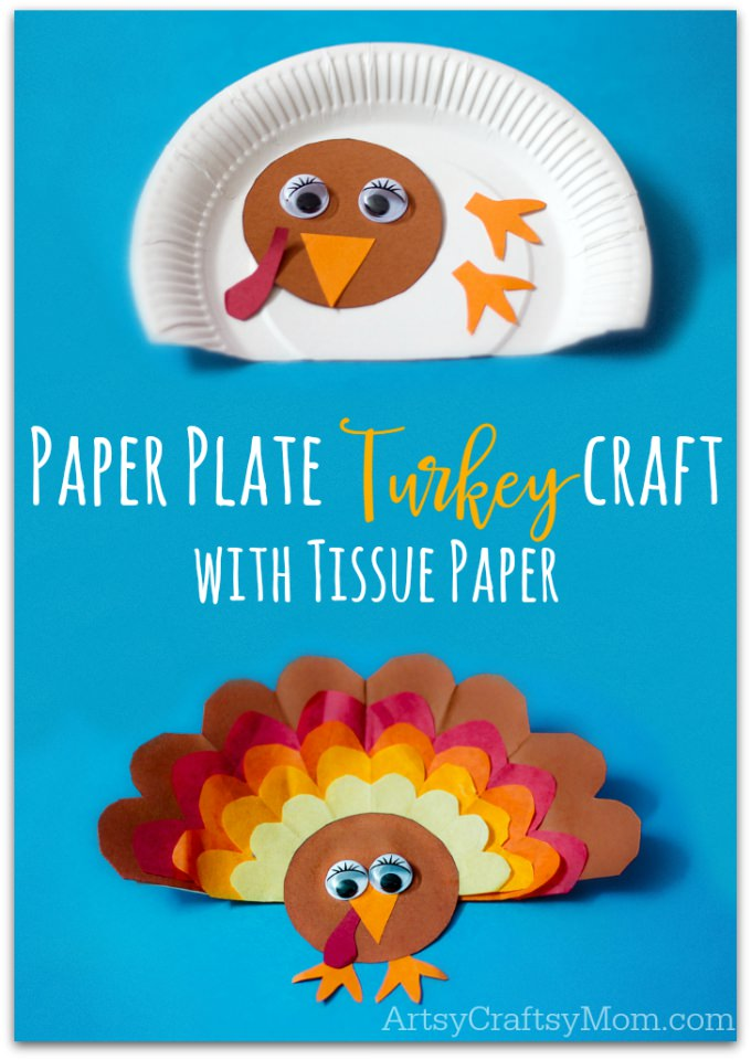 Paper Plate Thanksgiving Turkey craft with Tissue Paper -Little ones will be gobbling for joy when they make these turkeys! Fun to hang on walls and doors, these goofy birds make great decorations for your Classroom celebrations and Thanksgiving dinners table. An easy, perfect #Thanksgiving craft for kids to make! Perfect for Kindergarteners and Primary schoolers