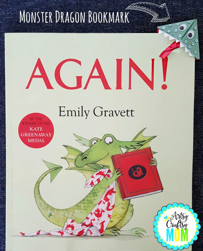 Back to school Monster Bookmarks - Easy to fold origami adorable Dragon bookmark, perfect for Halloween, back to school or just for fun. Goes well with book - Again! by Emily Gravett