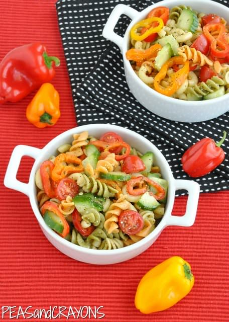 Confetti-Pasta-Salad - Is your kid a picky eater? Try these 15 Recipes That Will Make Your Kids Love Vegetables again. Fun finger foods in an all new healthy vegetarian avatar. Pasta, kebabs, fries. perfect for school lunches