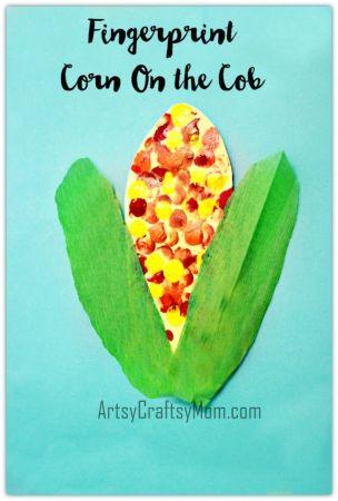 Fingerprint Corn on the Cob Art for kids