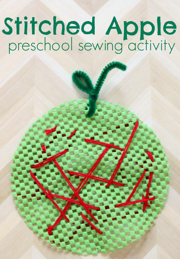 stitched apple activity - Top 10 Easy Apple Crafts For Kids via ArtsyCraftsyMom - Games, prints, playdoh, paper plates -everything to get your kids excited about Fall with fun and easy apple crafts!