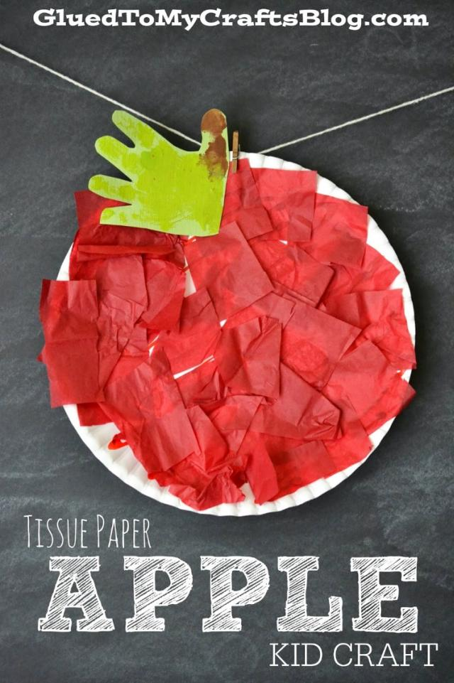 tissue paper apple - Top 10 Easy Apple Crafts For Kids via ArtsyCraftsyMom - Games, prints, playdoh, paper plates -everything to get your kids excited about Fall with fun and easy apple crafts!