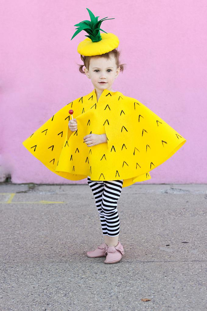 DIY pineapple costume for kids - Try these 21+ Last minute Halloween costume ideas that are both creative and easy and you can pull off in less than one hour. Minions, bandits, dolls and more