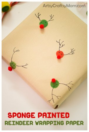 Sponge Painted Reindeer Wrapping Paper
