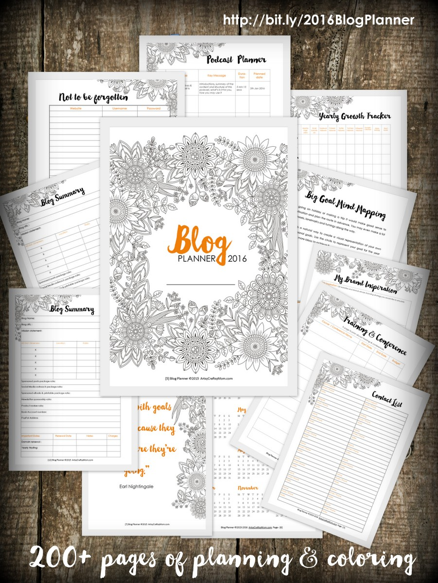 artsy blog planner 2016 200 pages of checklists daily weekly monthly