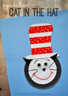 Cupcake liner Cat in the Hat .Who ever said that hats were out of style? Join your kids in bringing hats back with these creative hat crafts for National Hat Day.