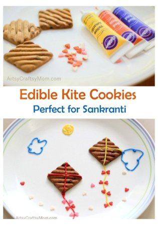 Turn an ordinary biscuit into Edible Kite cookies that are perfect for Sankranti, the Indian Harvest Kite Festival. Simple, clever fun dessert for kids.