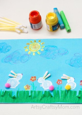 Easter Bunny Rabbit Art for kids using Q-Tips