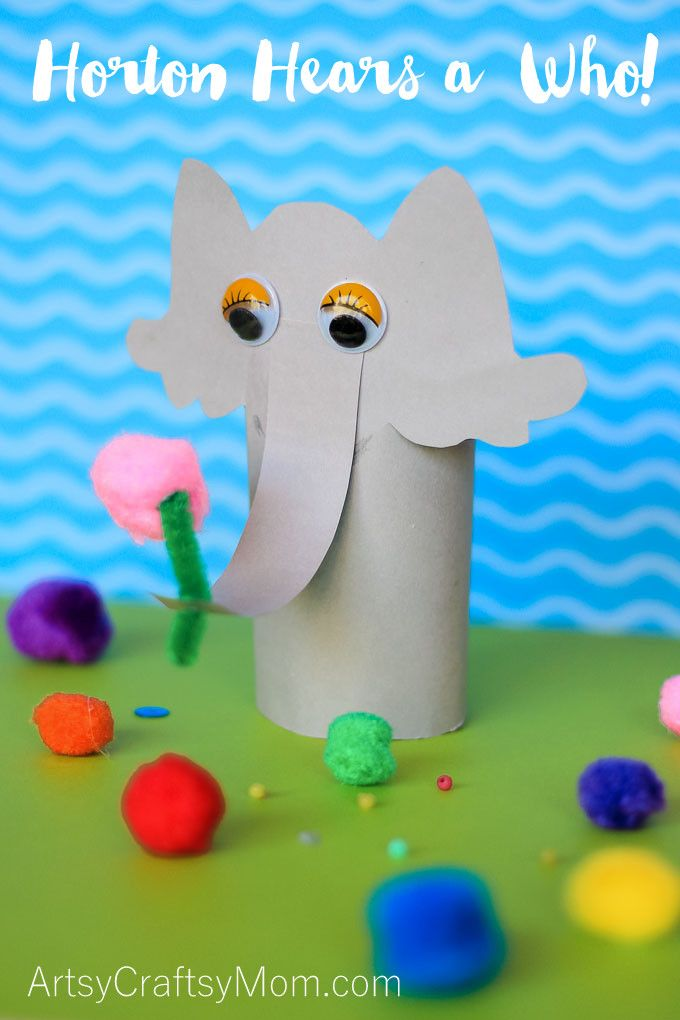 Celebrate Dr. Seuss' birthday themed day filled with our Horton Hears a Who Dr Seuss Craft, book, and of course, the movie. Easy paper elephant holding a pink clover