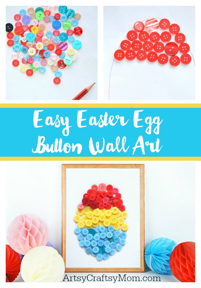 Ramp up your home's Easter decor with this easy Easter Egg Button Wall Art that even kids can make!