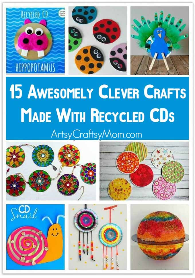15 Awesomely Clever Crafts made with Recycled CDs - This Earth Day, get your family into recycling mode and turn trash into treasure