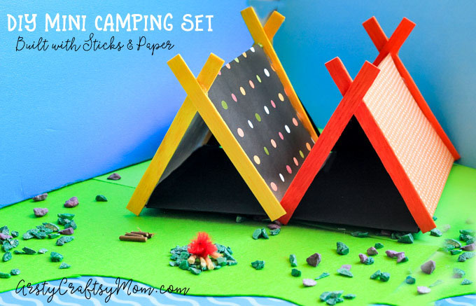 DIY Mini Camping Set with Sticks and Paper:Make camping gear for your small toys and take them on a trip! Mini popsicle & paper tents, Stick fireplace and more.