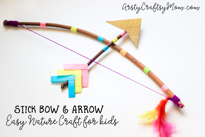 Make a Stick Bow and Arrow Craft for kids with a twig & some yarn. Now all that's left to do is test out your DIY bow and arrow with a little target practice! Perfect as a cupid bow and arrow costume prop or a fun Nature craft.