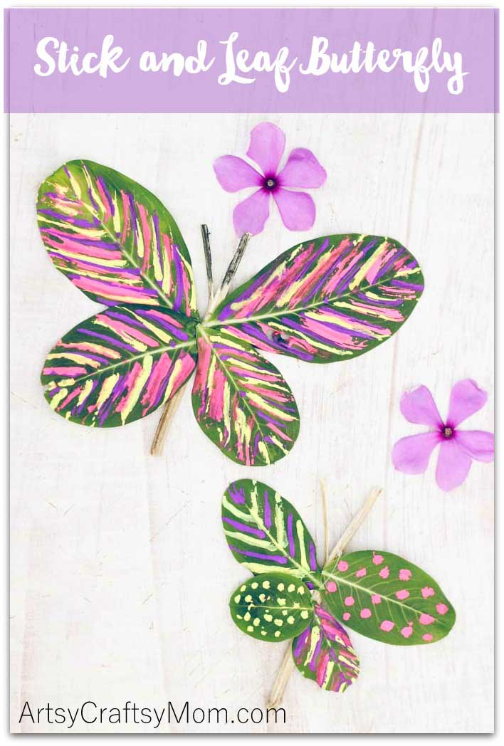 This Stick and Leaf Butterfly can be easily made with fresh leaves and twigs, and would make a great spring craft to bring the outdoors inside. An easy natural craft project featuring supplies found in nature.