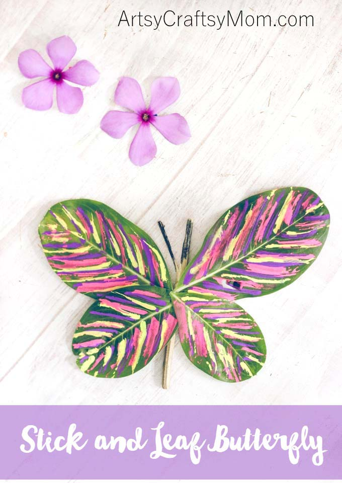 This Stick and Leaf Butterfly Nature Craft can be easily made with fresh leaves and twigs, and would make a great spring craft to bring the outdoors inside.