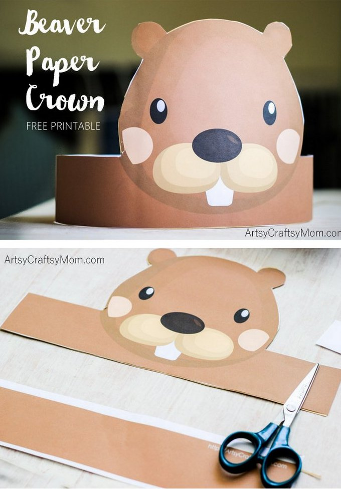 Create your own Beaver Paper Crown for National Beaver Day. Print, cut & glue. Enjoy when studying beavers, for National Beaver Day or perhaps for Canada Day too. Free Printable PDF in full color & another with an option to color in.
