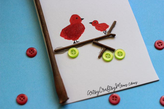 DIY Super Cute Fingerprint Bird Mother's Day Card - This simple DIY card uses fingerprints, sticks, buttons and paint to create a Mother's Day card.