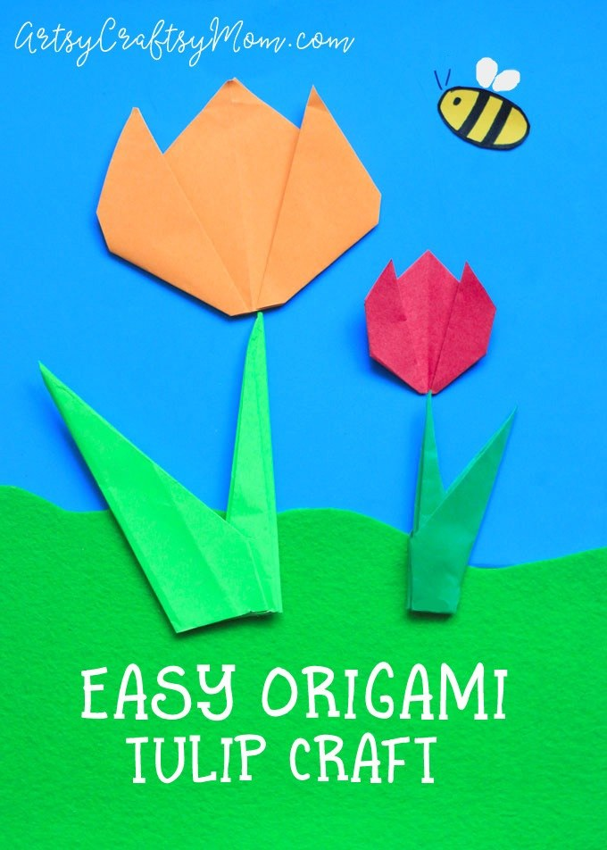Easy Origami Tulip Craft for Kids - Artsy Craftsy Mom | 952x680