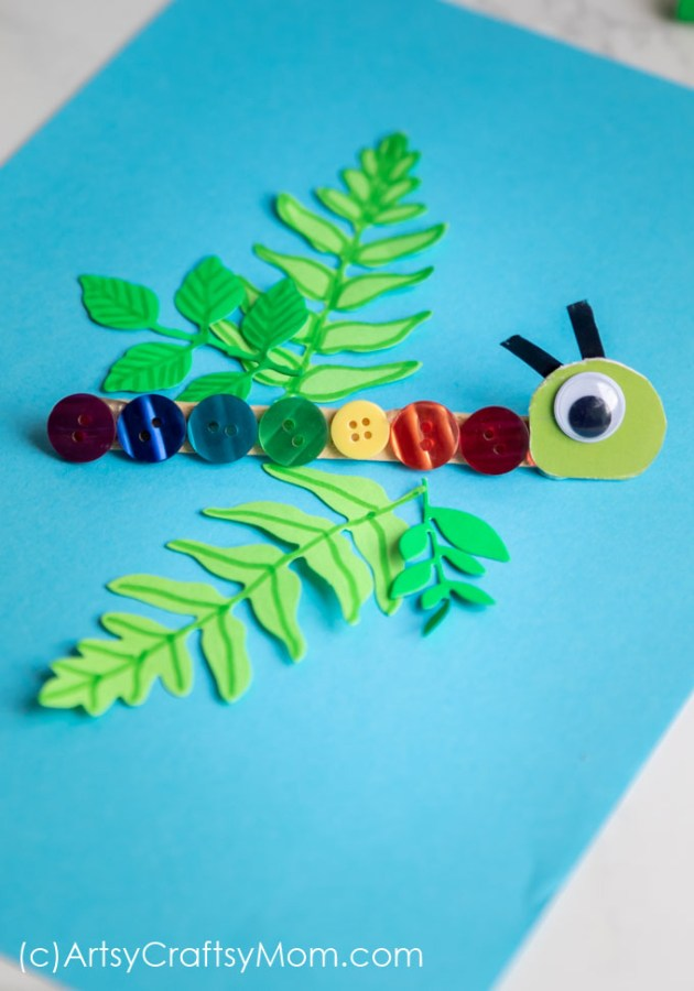 Our Rainbow Caterpillar Bookmark Craft using Buttons is a Perfect craft to accompany the book, The Very Hungry Caterpillar!
