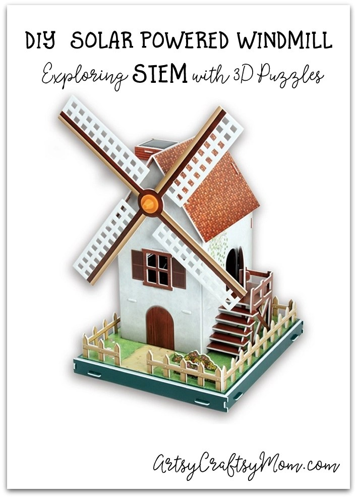 DIY SOLAR POWERED WINDMILL - The Solar Powered Windmill is a classic summer craft. This 3D puzzle from Cubicfun helps kids assemble and build a working windmill that harnesses the solar energy into mechanical energy: Awesome STEM Project