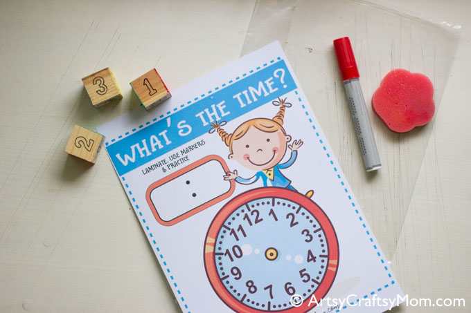 Our What's the time clock free printable is easy to use and very flexible. Print, laminate & use a marker to practice time problems for grade 3 to grade 5