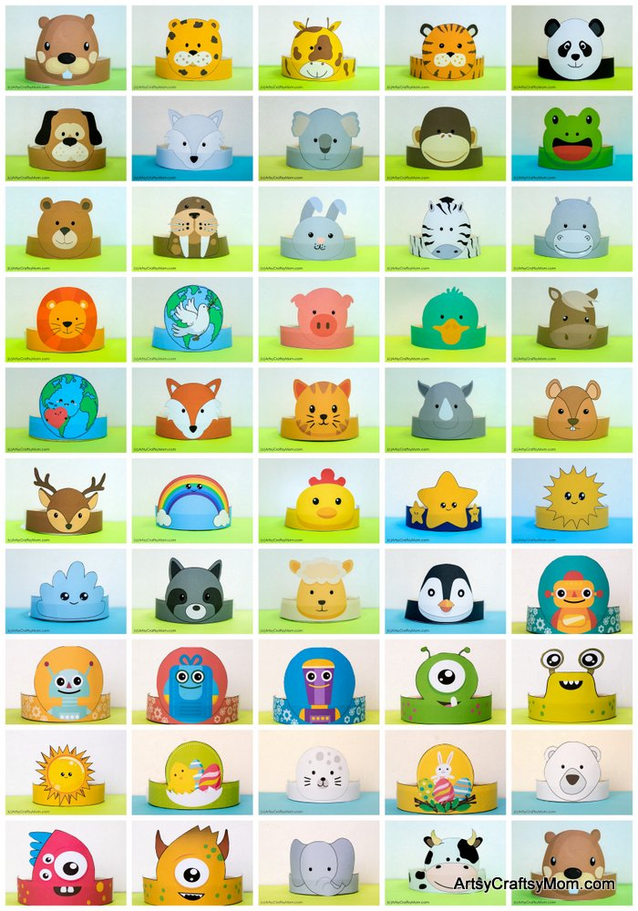 image about Animal Printable named 12 Lovely Animal Celebration Printable Hats for a Jungle Celebration