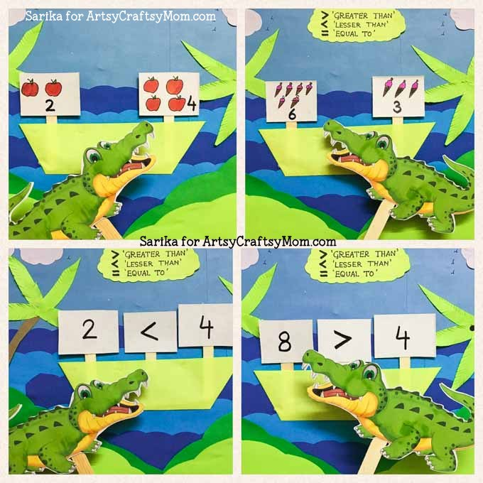 Learning Greater Than, Less Than, and Equals with Alligator Math - kids have fun with the alligator mouth representing the less than and greater than signs.