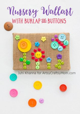 DIY Burlap Button Flower Garden Wall Art