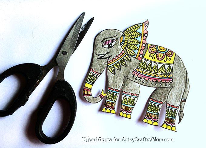 Madhubani elephant bookmark Step-6