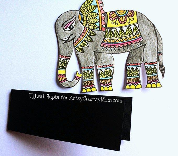 Madhubani elephant bookmark Step-7