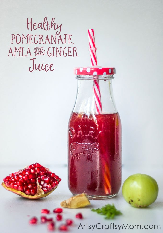 Healthy Pomegranate, Amla & Ginger Juice with Kent Cold Pressed Juicer - The sourness of Amla, perfectly matches the intensity of pomegranate, while enhancing the spiciness of ginger – this juice is the perfect thing to help wake you up, boost your immune system, and simply make you feel alive!