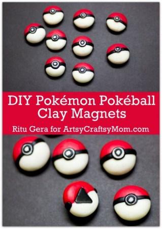 DIY Pokémon Pokéball Clay Magnets