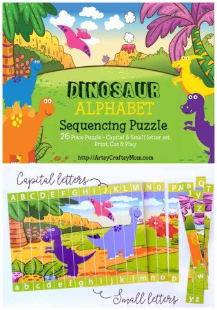 Printable Dinosaur Alphabet Sequencing Puzzle