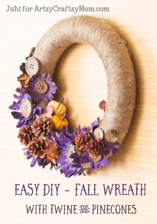 Easy DIY Fall Wreath with Twine and Pinecones