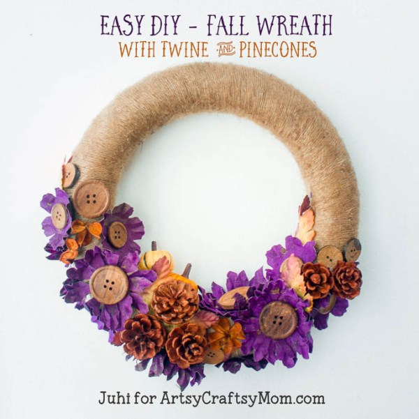 Fall wreath with twine and pinecones