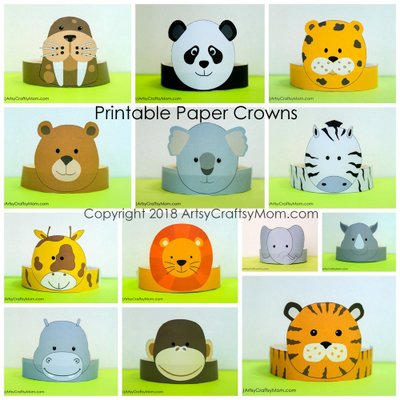 12 Adorable Animal Party Printable Hats for a Jungle Party