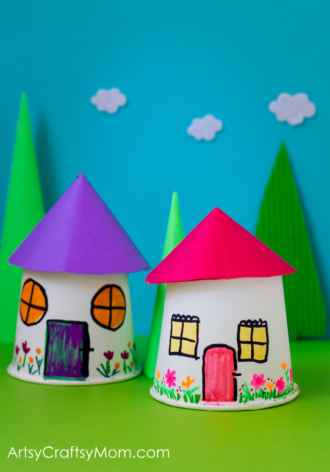 Paper Cup Miniature Village Craft Artsy Craftsy Mom
