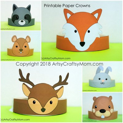 12 adorable animal party printable hats for a jungle party next is our printable woodland animals paper crown bundle pack maxwellsz