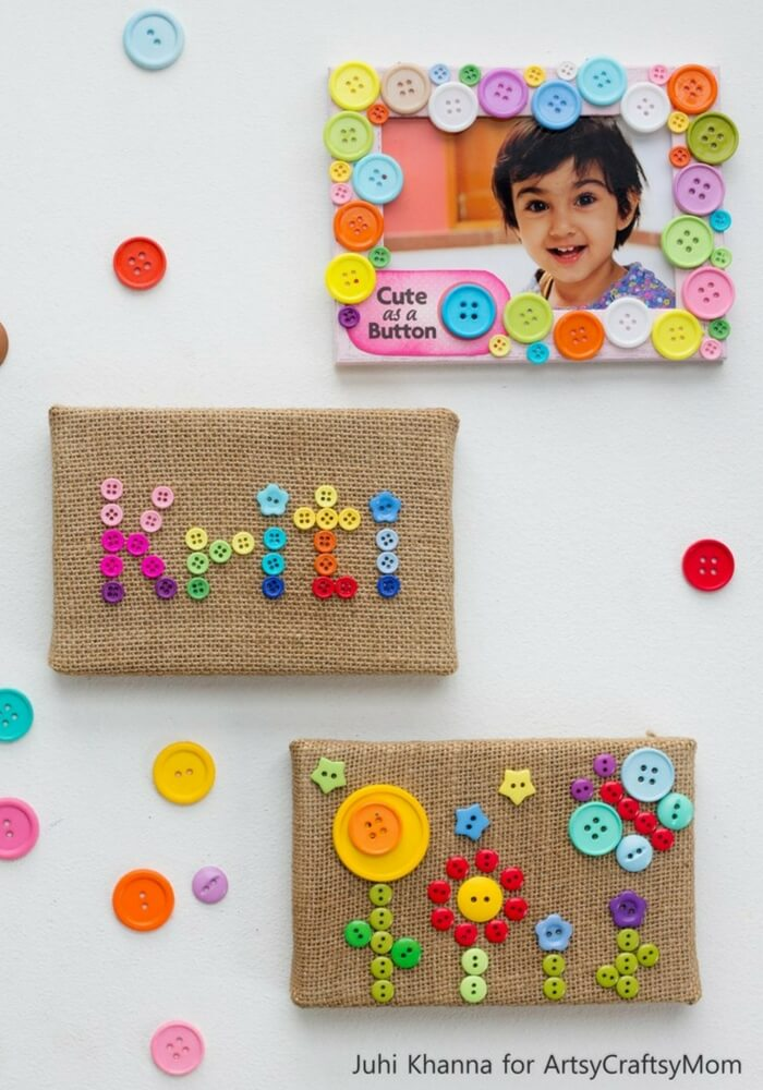 Kids love looking at their baby pictures! Indulge them with a DIY Photo Frame that is as cute as a button, and perfectly deserving of cute pictures!