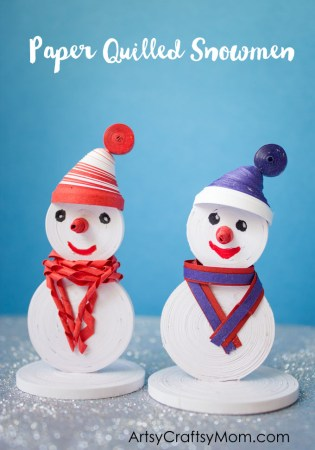 Paper Quilled Snowmen Craft for Kids