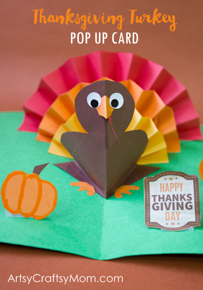 diy thanksgiving turkey pop up card  artsy craftsy mom