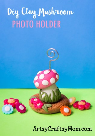 DIY Clay Mushroom Photo Holder